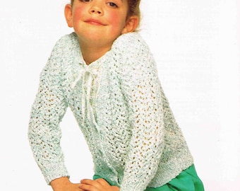 Girl's Cardigan Jacket - Size 61 to 76 cm (24 to 30 inch) - Sirdar Cotton Sunseeker DK 4482 - Vintage Knitting Pattern