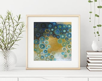 Teal blue turquoise copper modern abstract painting, square abstract art giclee print in gold and teal green,Calming tranquil art ocean blue