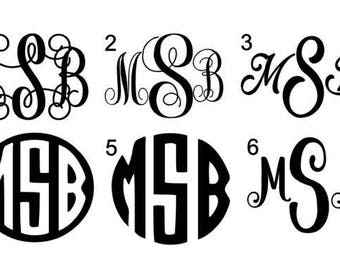Monogram Decal - circle monogram decal - vine monogram decal - yeti monogram decal - three inch decal - car decal - monogram sticker - decal