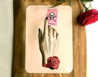 La Calavera - Oil Painting on wood panel Lowbrow Pop Art day of the dead