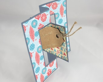 Card Flip Flop - Merry Christmas & happy new year in shades of blue