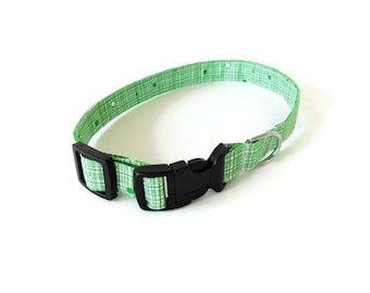 Green Crosshatch Dog Collar, Green Dog Collar, Green Cat Collar, Holiday Dog Collar