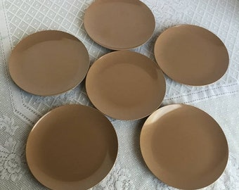April Sale Melamine Vintage Brown Bread and Butter Plates / Coffee Brown Melmac Dessert Plates