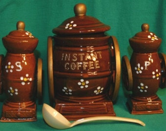 1970 Rare Coffee Mill Shakers with Sugar Container/Spoon-Japan