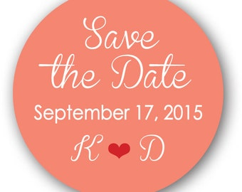 """63 Glossy 1"""" Round Sticker Label Tags - Custom Wedding Favor & Gift Tags - Choice of Colors - Save the Date"""