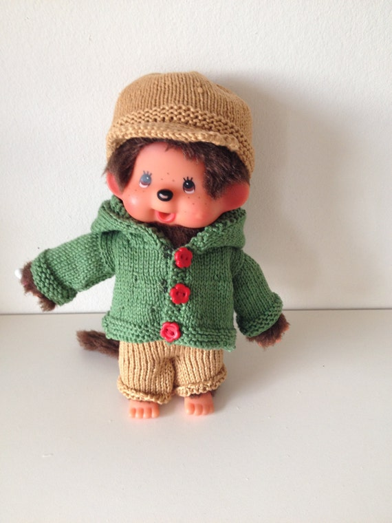 Knitted clothes for Monchichi monkey