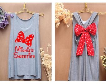 Minnie mouse Minnie's sweeties Disney Tank Premium with Bow : Workout Shirt - Keep Calm Shirt - Tank Top - Bow Shirt - Razor Back Tank