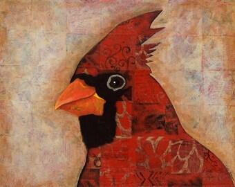 Cardinal; print of original; woodland bird; male cardinal;
