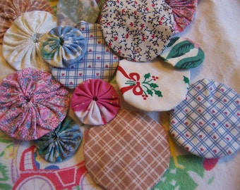 fun calico fabric flowerettes