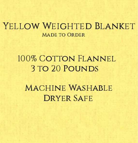 Solid Color, Weighted Blanket, Yellow, Up to Twin Size 3 to 20 Pounds.  Calming, Heavy Blanket, SPD, Autism, Weighted Blanket.