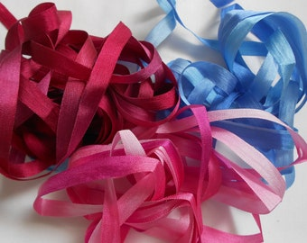9 Yards Variegated Silk Ribbon 7 mm Lot # 5 Crazy Quilting Embellishment & Embroidery