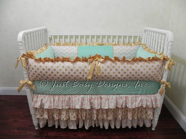 Custom Baby Bedding Set Ilana Girl Baby Bedding Gold Baby
