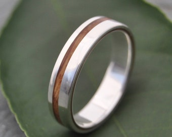 Size 10.5, 5mm Equinox Bourbon Barrel Oak Wood Ring with Recycled Silver - wood wedding ring, bourbon barrel wedding ringwhiskey barrel ring