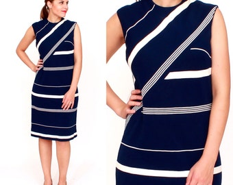 Vintage 1960s Mod Navy Blue and White Striped Sleeveless Shift Dress | Small/Medium
