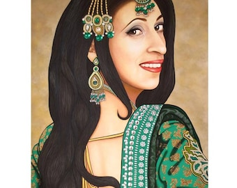 Preeti Emerald Indian Bride - ART PRINT - 8 x 10 - By Toronto Portrait Artist Malinda Prudhomme
