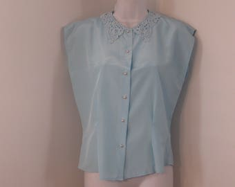 Vintage Blouse Ladies Sleeveless Blouse Blue Blouse by Stitches size 11 (Small)