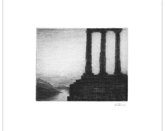 """Anthony Antonios """"Silent Sunlight"""" Landscape Greece - 1980 Etching & Drypoint Print - Signed Proof"""