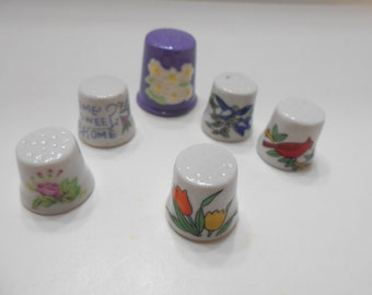 Vintage Porcelain Thimbles (12) Six!