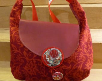 SC21 bag in cotton red fabric with orange flowers and red leather flap