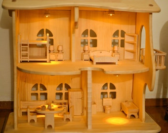 Wooden Dollhouse With Furniture Sylvanian Families Calico Critters 1:16  House Scale 3/4 Scale Lighting House Montessori Waldorf Wooden Toy