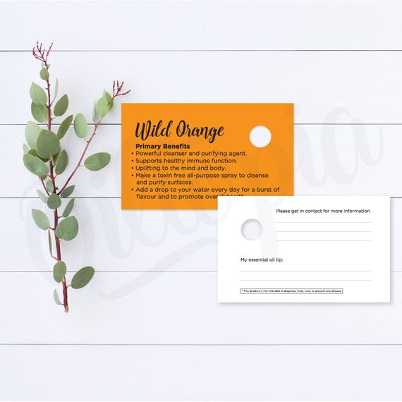 Wild Orange Essential Oil Sample Cards Dterra Business Card