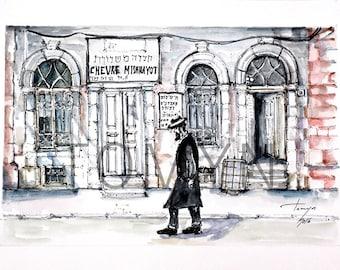 Auschwitz. Oswiecim. JEWISH  Synagogue  of POLAND. Chevra Mishnayot Synagogue. «Хевра Ломдей Мишнаёс». Jews Art. Original  painting.
