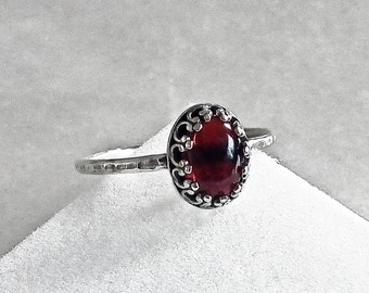 Sterling Silver Garnet Ring Red Ring Red Stone Ring Red Garnet Jewelry Adjustable Ring Gemstone Ring Gift for her