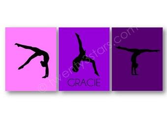 Gymnastique Silhouette affiches, gymnaste cadeau, cadeau de gymnastique, gymnastique personnalisée Art, gymnaste nom Art, toile de gymnastique, salle de Gym équipe Art