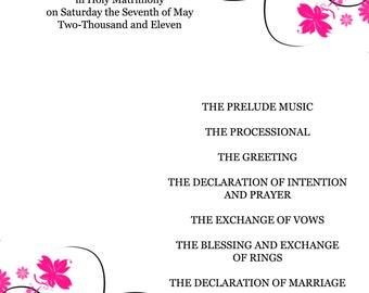 Black and Pink Floral Wedding Program
