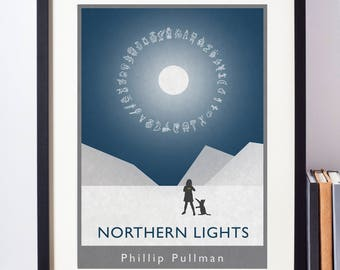 Northern lights alternative book cover print. Phillip Pullman's classic novel reimagined as minimalist wall art. A3, A4 or A5.
