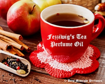 Fezziwig's Tea Perfume Oil - Dark English Tea, Cardamom, Cinnamon, Peppercorn, Apples, Clove, Orange Peel - Chrismas Perfume - Holiday Scent