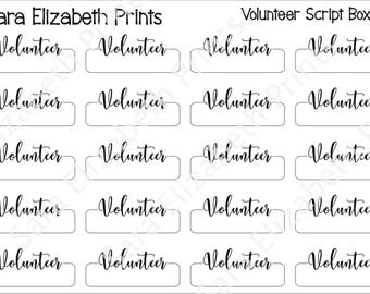 Volunteer Quarter Box Planner Stickers
