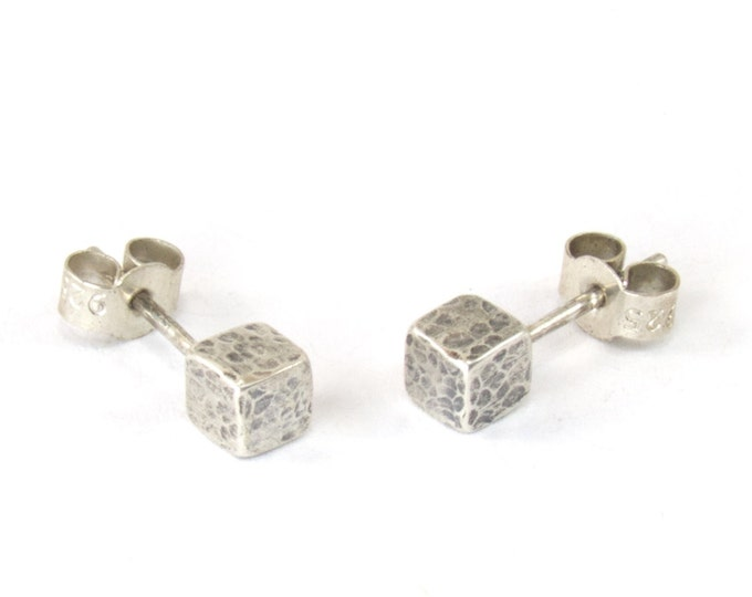 Hand Made Hammered Silver Cube Stud Earrings