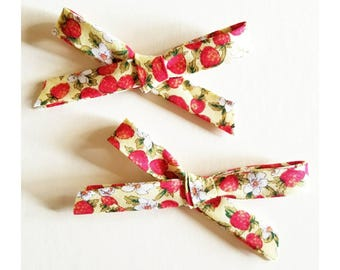 Strawberry Handtied bows perfect for spring and Strawberry picking