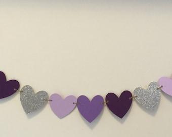 Heart banner birthday wedding baby shower