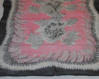 1940's Dusty Rose Silk Neck Scarf -  Beautiful Design - Lovely Vintage Accessory