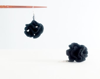 Black Statement Earrings Silver and Black Dangle Crochet Earrings Textile Jewelry