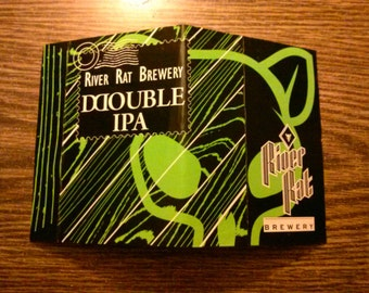 River Rat Double IPA Green Upcycled Beer Cardboard Notebook