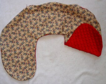 Sock Monkey and Red Minky Dot Nursing Pillow Cover Fits Boppy