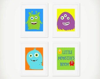 Set of 4 Little Monster Art Prints, Printable Monster Art, Instant Download, Boys Room Decor, Cute Monster Art Print for Boys Room, Nursery