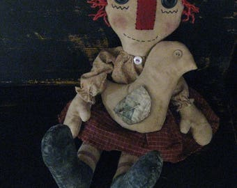Primitive Raggedy with Pet Chicken