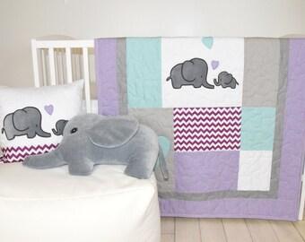 Elephant Baby Quilt,  Gray Purple Teal  Crib Bedding, Purple Chevron  Elephant Blanket,  Safari Nursery
