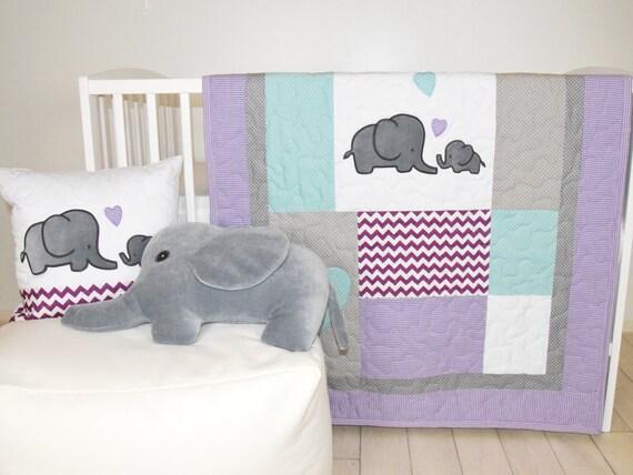 Elephant Baby Quilt Gray Purple Teal Crib Bedding Purple