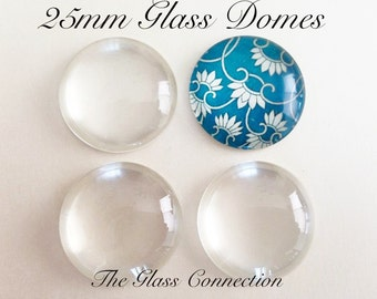 40 Clear 1 inch Glass DOMES Cabochon Circles 25mm Round for Pendant Jewelry Making Transparent