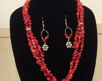 Coral Chip necklace with silver rose