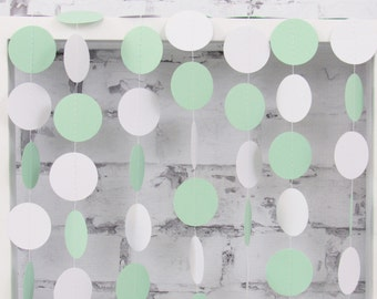 Mint Garland - Mint and White Circle Garland - Mint Paper Garland - Mind Wedding Bunting - White and Mint Baby Shower