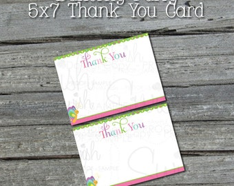 INSTANT DOWNLOAD - Butterfly Birthday - 5x7 Thank you card - Girls - NONPERSONALIZED