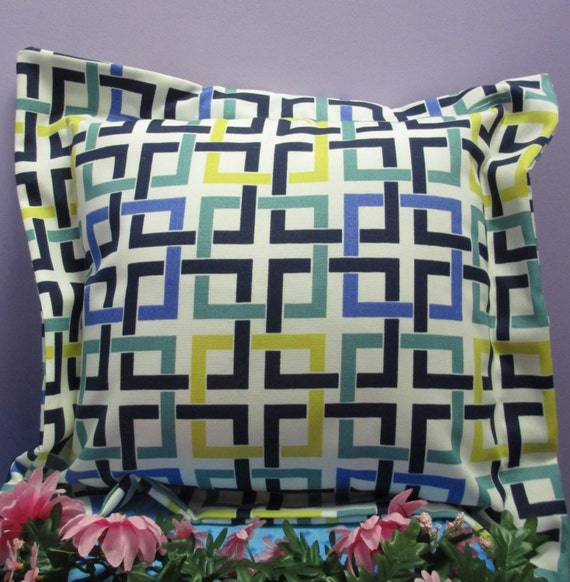 Pillow Cover Monogrammed Multi-Colored Geometric Print Handmade
