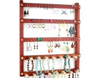 Earring Holder - Jewelry Organizer, Hanging, Wood, Bloodwood, 2 Necklace Bars. Holds up to 54 pairs of Earrings, plus 15 pegs.