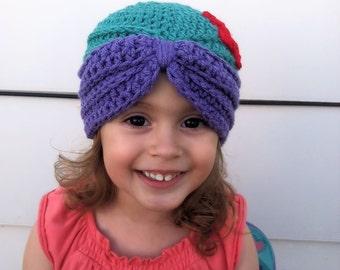 Crochet Mermaid Hat - Crochet Mermaid Beanie - Crochet Mermaid Turban - Turban